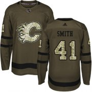 Wholesale Cheap Adidas Flames #41 Mike Smith Green Salute to Service Stitched Youth NHL Jersey