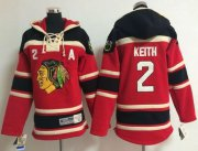 Wholesale Cheap Blackhawks #2 Duncan Keith Red Sawyer Hooded Sweatshirt Stitched Youth NHL Jersey