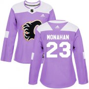 Wholesale Cheap Adidas Flames #23 Sean Monahan Purple Authentic Fights Cancer Women's Stitched NHL Jersey