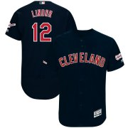 Wholesale Cheap Cleveland Indians #12 Francisco Lindor Majestic Alternate 2019 All-Star Game Patch Flex Base Player Jersey Navy