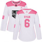 Wholesale Cheap Adidas Kings #6 Joakim Ryan White/Pink Authentic Fashion Women's Stitched NHL Jersey