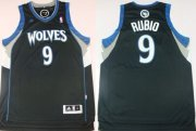 Wholesale Cheap Minnesota Timberwolves #9 Ricky Rubio Revolution 30 Swingman Black Jersey