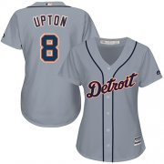 Wholesale Cheap Tigers #8 Justin Upton Grey Road Women's Stitched MLB Jersey
