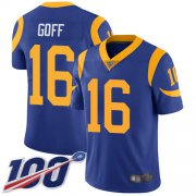 Wholesale Cheap Nike Rams #16 Jared Goff Royal Blue Alternate Men's Stitched NFL 100th Season Vapor Limited Jersey