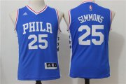 Cheap Youth Philadelphia 76ers #25 Ben Simmons NEW Blue Stitched NBA Adidas Swingman Jersey