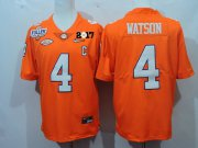 Wholesale Cheap Men's Clemson Tigers #4 Deshaun Watson Orange Diamond Quest 2017 Championship Game Patch Stitched CFP Nike Limited Jersey