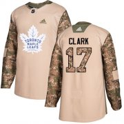 Wholesale Cheap Adidas Maple Leafs #17 Wendel Clark Camo Authentic 2017 Veterans Day Stitched NHL Jersey
