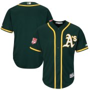 Wholesale Cheap Athletics Blank Green 2019 Spring Training Cool Base Stitched MLB Jersey