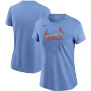 Wholesale Cheap St. Louis Cardinals Nike Women's Cooperstown Collection Wordmark T-Shirt Light Blue