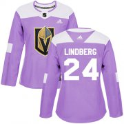 Wholesale Cheap Adidas Golden Knights #24 Oscar Lindberg Purple Authentic Fights Cancer Women's Stitched NHL Jersey