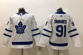 Wholesale Cheap Adidas Maple Leafs #91 John Tavares White Road Authentic Stitched Youth NHL Jersey