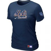 Wholesale Cheap Women's New York Mets Nike Short Sleeve Practice MLB T-Shirt Midnight Blue