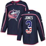 Wholesale Cheap Adidas Blue Jackets #3 Seth Jones Navy Blue Home Authentic USA Flag Stitched Youth NHL Jersey
