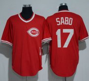 Wholesale Cheap Mitchell And Ness 1990 Reds #17 Chris Sabo Red Throwback Stitched MLB Jersey