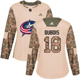 Wholesale Cheap Adidas Blue Jackets #18 Pierre-Luc Dubois Camo Authentic 2017 Veterans Day Women\'s Stitched NHL Jersey