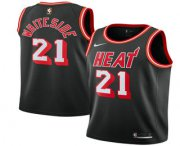 Wholesale Cheap Men's Miami Heat #21 Hassan Whiteside Black 2017-2018 Nike Stitched Throwback Swingman Jersey