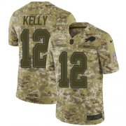 Wholesale Cheap Nike Bills #12 Jim Kelly Camo Men's Stitched NFL Limited 2018 Salute To Service Jersey