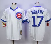 Wholesale Cheap Cubs #17 Kris Bryant White Strip Home Cooperstown Stitched MLB Jersey
