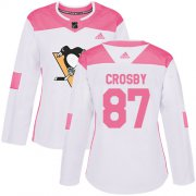 Wholesale Cheap Adidas Penguins #87 Sidney Crosby White/Pink Authentic Fashion Women's Stitched NHL Jersey