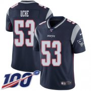 Cheap Nike Patriots #53 Josh Uche Navy Blue Team Color Youth Stitched NFL 100th Season Vapor Untouchable Limited Jersey