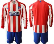 Wholesale Cheap Atletico Madrid Blank Home Long Sleeves Soccer Club Jersey