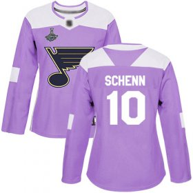 Wholesale Cheap Adidas Blues #10 Brayden Schenn Purple Authentic Fights Cancer Stanley Cup Champions Women\'s Stitched NHL Jersey