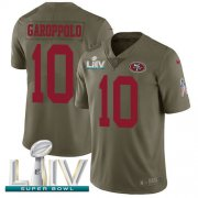Wholesale Cheap Nike 49ers #10 Jimmy Garoppolo Olive Super Bowl LIV 2020 Men's Stitched NFL Limited 2017 Salute To Service Jersey