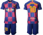 Wholesale Cheap Barcelona #10 Ronaldinho 20th Anniversary Edition Home Soccer Club Jersey