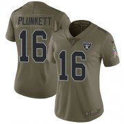 Wholesale Cheap Nike Raiders #16 Jim Plunkett Olive Women's Stitched NFL Limited 2017 Salute to Service Jersey