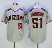 Wholesale Cheap Diamondbacks #51 Randy Johnson Gray/Brick New Cool Base Stitched MLB Jersey