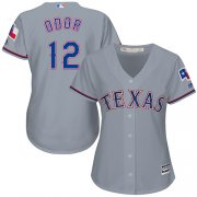 Wholesale Cheap Rangers #12 Rougned Odor Grey Road Women's Stitched MLB Jersey