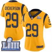 Wholesale Cheap Nike Rams #29 Eric Dickerson Gold Super Bowl LIII Bound Women's Stitched NFL Limited Rush Jersey
