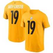 Wholesale Cheap Pittsburgh Steelers #19 JuJu Smith-Schuster Nike Team Player Name & Number T-Shirt Gold