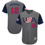 Wholesale Cheap Team USA #12 Nolan Arenado Gray 2017 World MLB Classic Authentic Stitched MLB Jersey