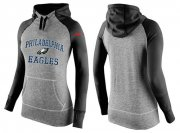 Wholesale Cheap Women's Nike Philadelphia Eagles Performance Hoodie Grey & Black_2