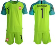 Wholesale Cheap Poland #1 Szczesny Shiny Green Goalkeeper Soccer Country Jersey