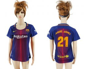 Wholesale Cheap Women\'s Barcelona #21 Andre Gomes Home Soccer Club Jersey