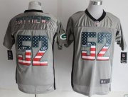 Wholesale Nike Packers #52 Clay Matthews Grey Men's Stitched NFL Elite USA Flag Fashion Jersey