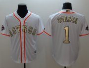 Wholesale Cheap Astros #1 Carlos Correa White 2017 World Series Champions Gold Program Cool Base Stitched MLB Jersey