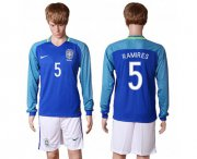 Wholesale Cheap Brazil #5 Ramires Away Long Sleeves Soccer Country Jersey