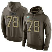 Wholesale Cheap NFL Men's Nike Miami Dolphins #78 Laremy Tunsil Stitched Green Olive Salute To Service KO Performance Hoodie