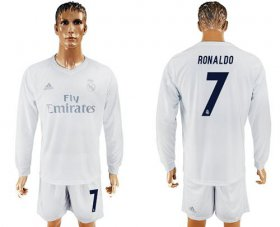 Wholesale Cheap Real Madrid #7 Ronaldo Marine Environmental Protection Home Long Sleeves Soccer Club Jersey