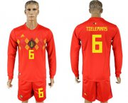 Wholesale Cheap Belgium #6 Tielemans Red Home Long Sleeves Soccer Country Jersey
