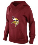 Wholesale Cheap Women's Minnesota Vikings Logo Pullover Hoodie Red-1