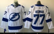 Wholesale Cheap Adidas Lightning #77 Victor Hedman White Road Authentic Stitched NHL Jersey