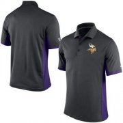 Wholesale Cheap Men's Nike NFL Minnesota Vikings Charcoal Team Issue Performance Polo
