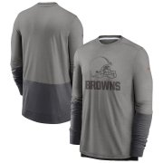 Wholesale Cheap Cleveland Browns Nike Sideline Player Performance Long Sleeve T-Shirt Heathered Gray Charcoal