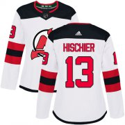 Wholesale Cheap Adidas Devils #13 Nico Hischier White Road Authentic Women's Stitched NHL Jersey