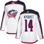 Wholesale Cheap Adidas Blue Jackets #14 Gustav Nyquist White Road Authentic Stitched Youth NHL Jersey