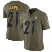 Wholesale Cheap Nike Steelers #21 Sean Davis Olive Men's Stitched NFL Limited 2017 Salute to Service Jersey